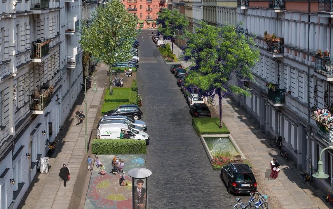 Ein CarSharing-Fahrzeug ersetzt bis zu 20 private Pkw - das schafft Platz für mehr Lebensqualität (Bild: bcs)